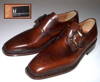 new MORESCHI Rufina bench made shoes 8 monk strap $825+
