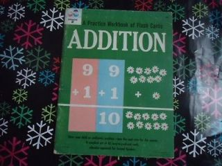 VINTAGE 1962 ADDITION FLASH CARD BOOK 2ND GRADE MATH FACTS FUN PUSH