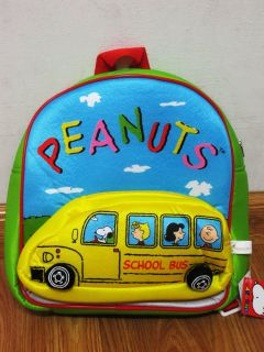 Snoopy School Bus Plush Backpack Bookbag Bag #018 Green