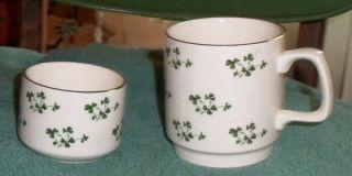 Carrigaline Pottery Cork Ireland Cup & Little Bowl Shamrocks