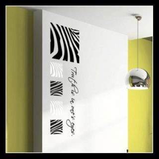 Set of 5 Zebra Stripe Pattern Removable Vinyl Wall Art Sticker Decal