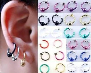 Pair Spring Clip On Hoop,Nose Lip Ear Ring,Earrings, Pick Up 1 Color