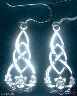 Newly listed 14K White Gold Sterling Silver Claddagh Earrings Irish