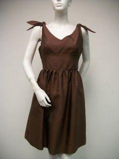 ELIZABETH MCKAY V Cut Shoulder Tie Chocolate Brown Silk Cotton Dress