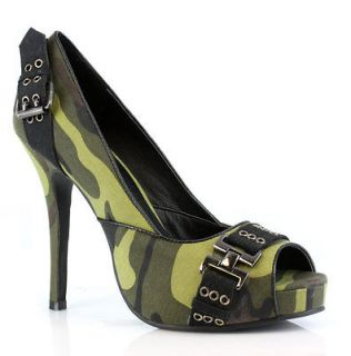 High Heel Camo Army Brat Open Toe Pumps Halloween Costume Shoes 5 12