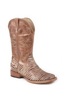 Roper Ladies Brown Gold Glitter ZEBRA Square Toe Cowboy Boots Size 7 8