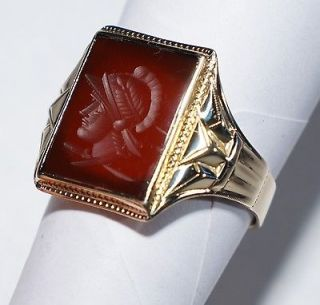 Vintage Mens Intaglio Carnelian Ring in GREAT SHAPE
