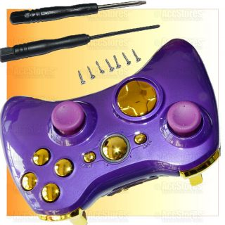 Wireless Controller Shell Case Button Glossy Purple Gold Custom Modded