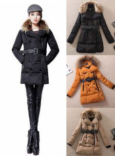 Womens Winter Warm Goose Down Jacket Long Coat Thicken Belted Fur
