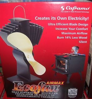 WOOD STOVE FAN BY CAFRAMO   812AM KBX   GOLD BLADES   NICE
