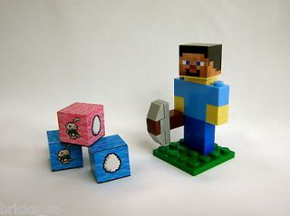 Lego Minecraft Easter Day Steve with Bunny Rabbit & Egg Blocks