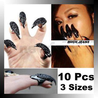 Black 10 Pcs False Nail Jewelry Crystal Rhinestones Claw Paw Talon