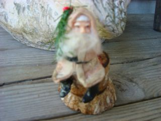 Vintage Santa Sitting on Cardboard Log Paper Mache Candy Container