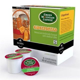 NEW Keurig K Cups Green Mountain Coffee Gingerbread (18 Count Box)