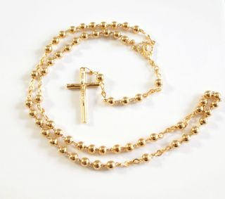 Rosary Gold Plated metal 5mm beads madonna center Gold plated rosary