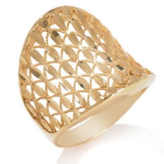 Crystal Cut Concave Band Ring 14K Gold Clad Silver 925