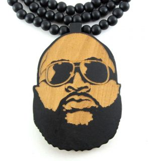 Wooden Rick Ross Face Pendant Piece 36 Chain Bead Necklace Good Wood