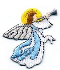 ANGEL BLOWING HORN, EMBROIDERED IRON ON APPLIQUE