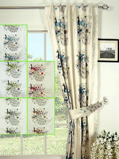Embroidered Peacocks Back Tab Lined Faux Silk Curtains
