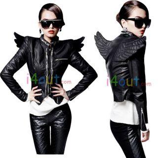 Women 3D Back Angel Wings Punk Heavy Metal Slim Faux Leather Blazer