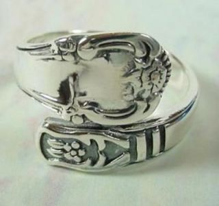 Classic Sterling Silver Floral Design Spoon Style Ring Sz 6 9