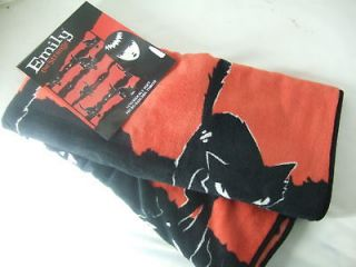NWT EMILY THE STRANGE BLACK & RED SABBATH KITTY CATS GOTHIC FLEECE