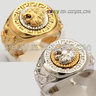 R069 Fashion Cool Lion Eagle Star Ring 18K GP