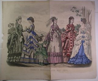 May 1870 Fashion Plate SIX LOVELY SPRING DRESSES Godeys Magazine
