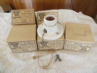 Lot 5 Antique Heavy Porcelain Ceiling Light Fixtures W Pull String*NOS