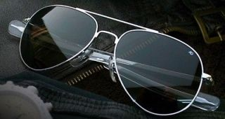 Silver AO American Optical General Sunglasses 58mm Bayonet Pilot