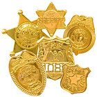 NEW 6 pc. POLICE Badge GOLD PRETEND PLAY SHERIFF, Special Agent Toy