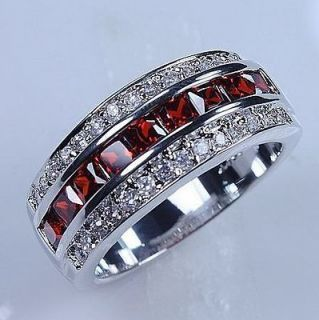 /11 Classic Mens Red Garnet 10KT White Gold Filled Gem Ring Band Gift
