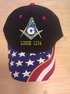 MASON MASONIC CUSTOM EMBROIDERED BALL CAP HAT WITH STARS AND WITH