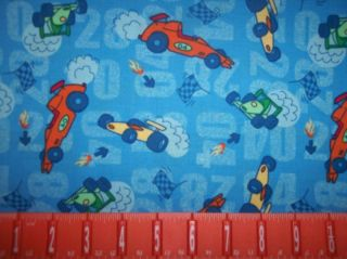 RACE CARS RACING CHECKERED FLAG COTTON FABRIC BTY