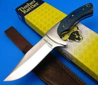 Fixed Blade Blue Pakkawood Handle Clip Point Bowie Hunt Skinning Knife