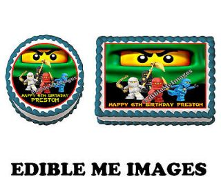 NINJAGO LEGO BLUE Birthday Party Cake Topper Cupcake Decoration Edible