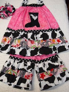 BOUTIQUE PAGEANT WESTERN WEAR COW PRINT BOOT OUTFIT