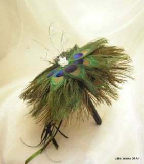 Peacock Feather Handtied Bridal Bouquet silver or gold Trim Wedding