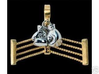 NEW 14k Yellow/ White Solid Gold Boxing Gloves Pendant
