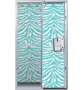 Blue Zebra Animal Print Locker Decor Wallpaper