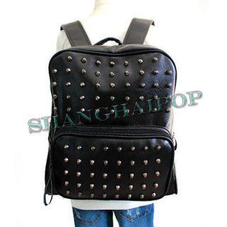 Black Stud Faux Leather Backpack Rucksack Schoolbag Unisex Girl Campus