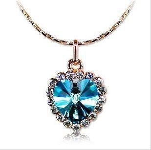 18K Rose Gold GP Swarovski Crystal Blue Ocean Heart Necklace C71