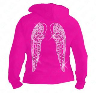 Ladies Black Angels wings hoodie S XXL Gift Bling