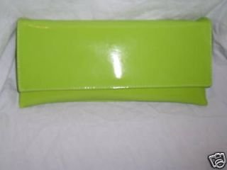 LIME GREEN PATENT CLUTCH BAG / LIME PATENT SHOULDER BAG