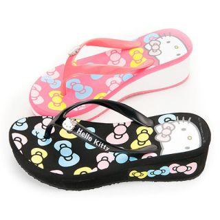 Sanrio Hello Kitty Ladys Slippers Flip Flops Low Heels Black, Pink