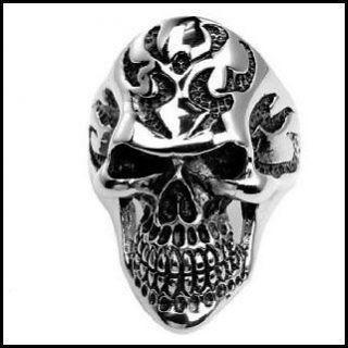 Mens Stainless Steel Outlaw Biker Exhumed Skull Ring