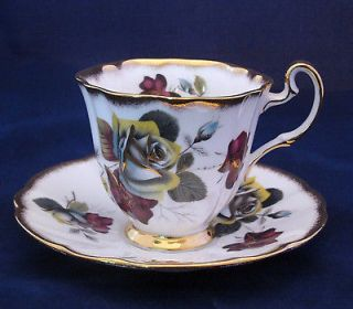 ROYAL ADDERLEY TEA CUP & SAUCER   DARK RED & GRAY FLOWERS