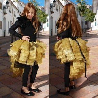 Girly Girls Childs Kids All Gold Black Bustle Dress Up Party Skirt 8 9