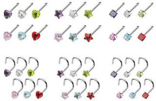 6pcs Prong Set Heart, Star or Square Gem Nose Rings   Studs, Screws