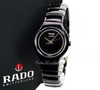 NEW Rado True Jubile R27655732 Black Ceramic Ladies Diamond Watch